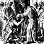 Moses appoints Joshua his successor, woodcut by Julius Schnorr von Carolsfeld, 1860