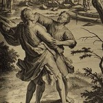 Jacob wrestles with the angel, from the 1728 Figures de la Bible
