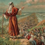 Israelites crossing the Red Sea, from a 1907 Bible card
