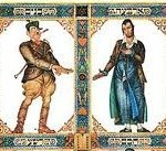 The wise and wicked sons, as depicted in the Szyk Haggadah