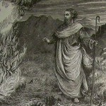 Moses & the burning bush, from the Holman Bible, 1890
